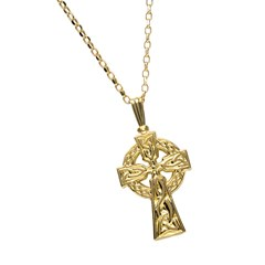 Large Double Sided Yellow Gold Celtic Cross
