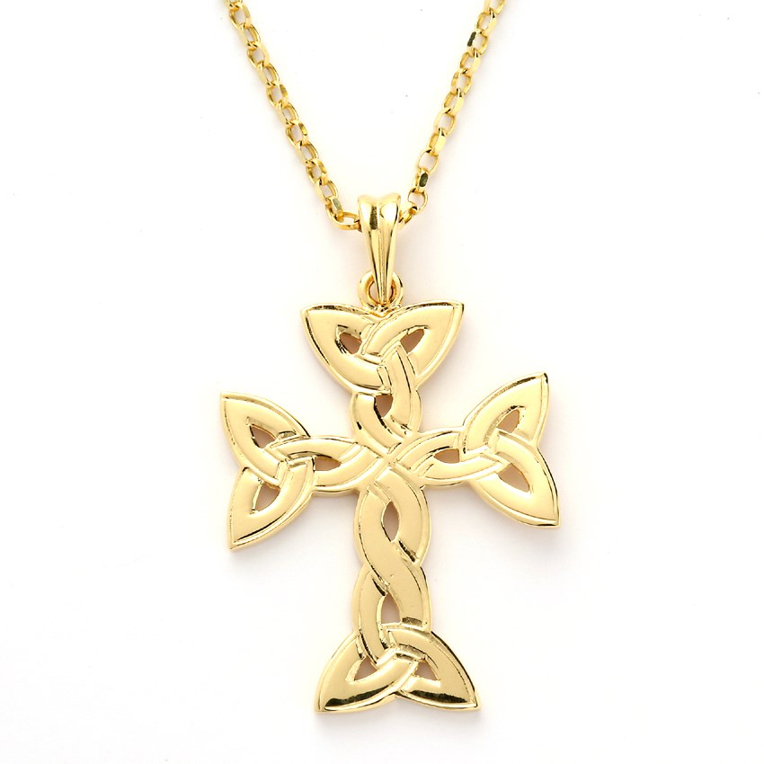Large Trinity Knot Yellow Gold Cross