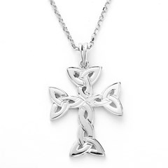 Large Trinity Knot White Gold Cross