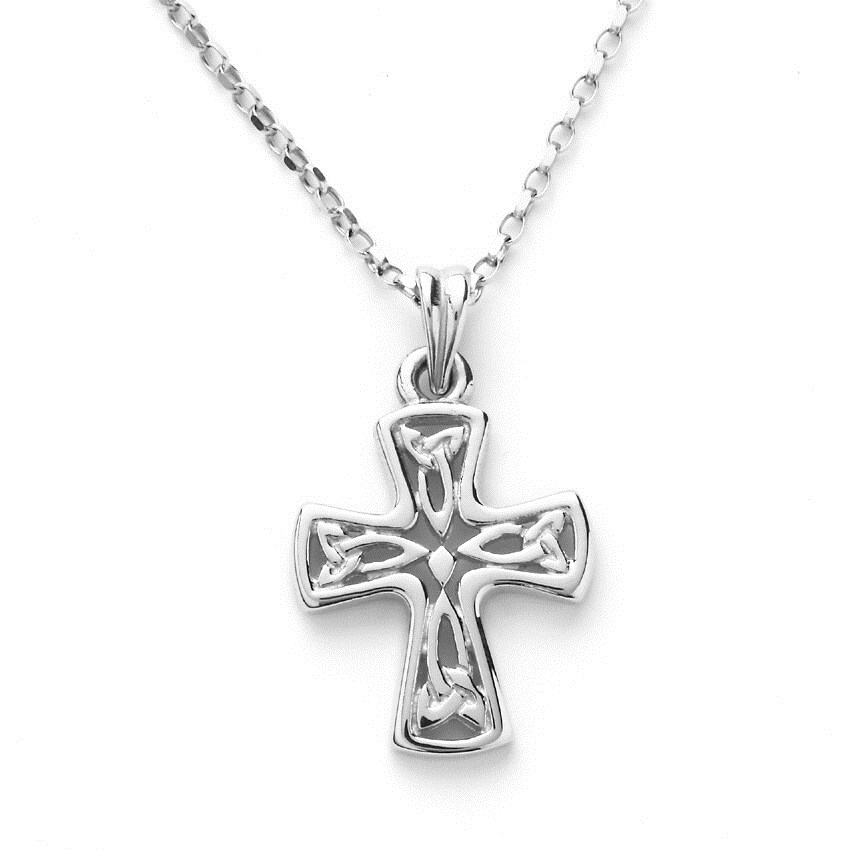Small White Gold Celtic Cross