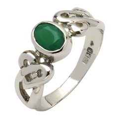 Celtic Heart Knot Green Stone Set Silver Ring