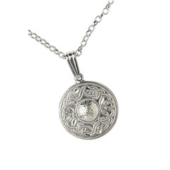 Celtic Warrior Small White Gold Pendant