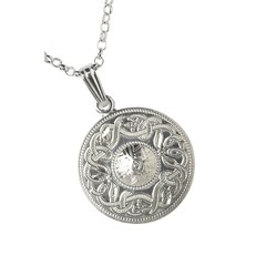 Celtic Warrior Large White Gold Pendant