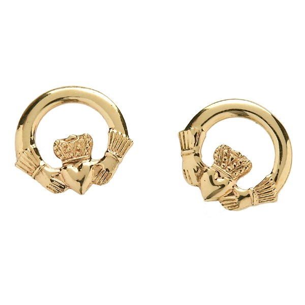 Baby Yellow Gold Claddagh Stud Earrings