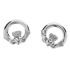 Baby White Gold Claddagh Stud Earrings