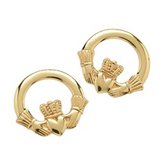 Small Yellow Gold Claddagh Stud Earrings