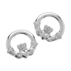 Small White Gold Claddagh Stud Earrings