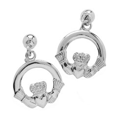 Small White Gold Claddagh Drop Earrings