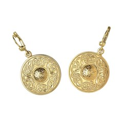 Celtic Warrior Large Yellow Gold Earrings