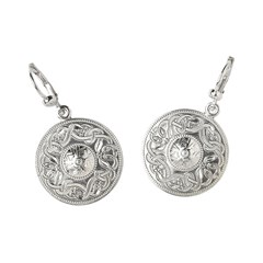 Celtic Warrior Large White Gold Earrings
