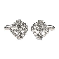 Celtic Cross White Gold Cufflinks