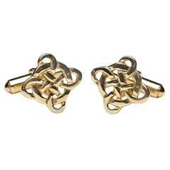 Filigree Celtic Cross Yellow Gold Cufflinks