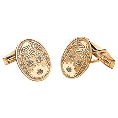 Coat of Arms Large Oval Yellow Gold Cufflinks