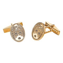 Coat of Arms Oval Yellow Gold Cufflinks