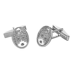 Coat of Arms Oval White Gold Cufflinks