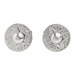 Celtic Warrior Large White Gold Cufflinks