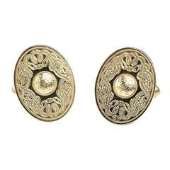Celtic Warrior Oval Yellow Gold Cufflinks