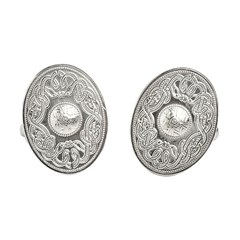 Celtic Warrior Oval White Gold Cufflinks