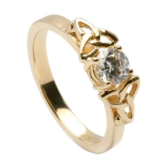 Engagement Rings Knot: Diamond Trinity Knot Engagement Ring
