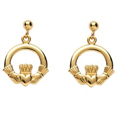Baby Yellow Gold Claddagh Drop Earrings