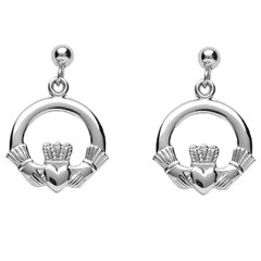 Baby White Gold Claddagh Drop Earrings