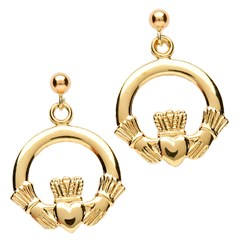 Medium Yellow Gold Claddagh Drop Earrings