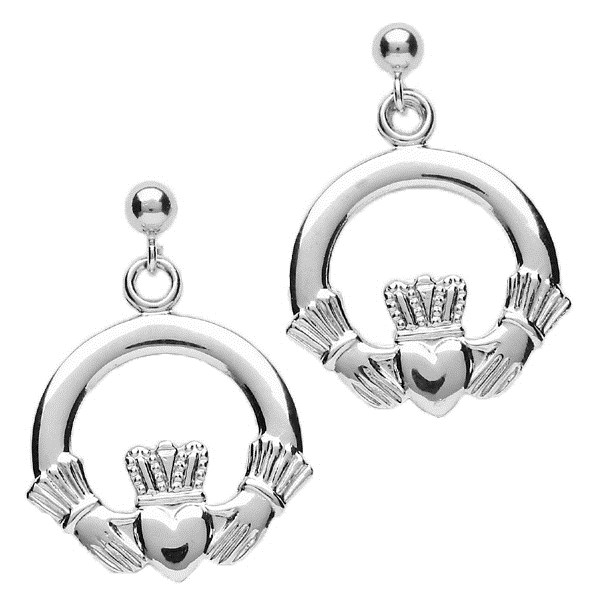Medium White Gold Claddagh Drop Earrings