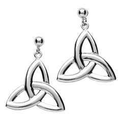 Medium White Gold Trinity Knot Earrings