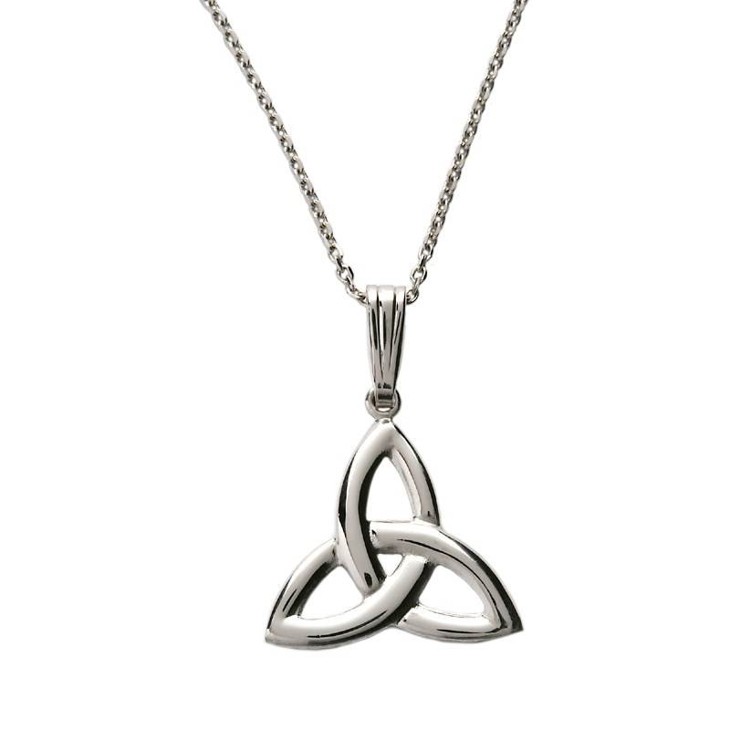 Large White Gold Trinity Knot Pendant Celtic Necklaces