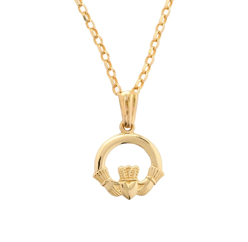 Baby Yellow Gold Claddagh Pendant