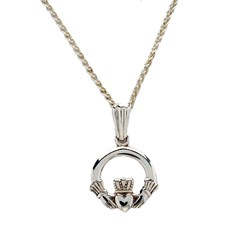 Baby White Gold Claddagh Pendant