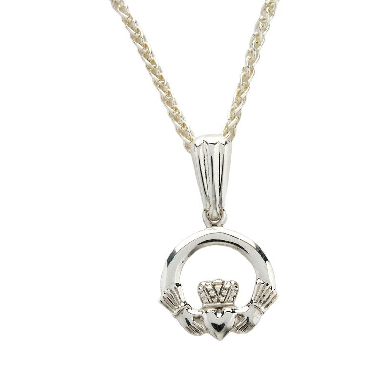 Small White Gold Claddagh Pendant