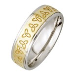 Trinity Knot Silver Wedding Band with Gold Center