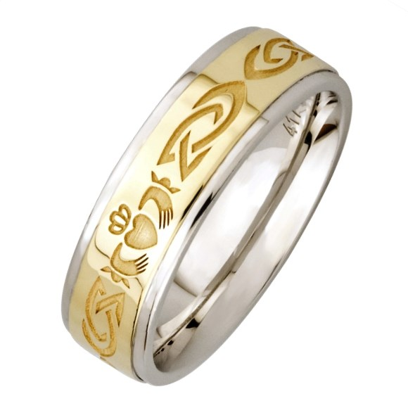 claddagh silver wedding band with gold center claddagh