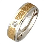 Celtic Knot Silver Wedding Band with Gold Center and Diamond