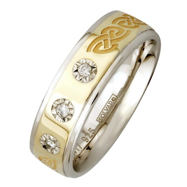 Celtic Knot Silver Wedding Band With Gold Center And 3 X Diamonds