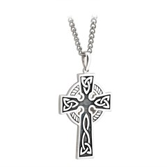 Oxidized Double Sided Celtic Cross