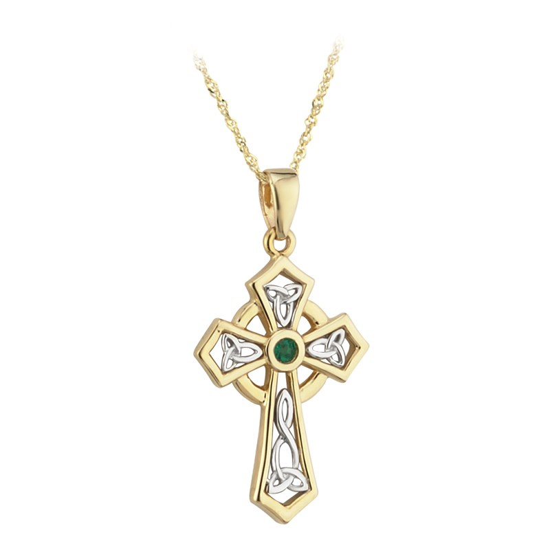 Emerald Set Celtic Cross Necklace