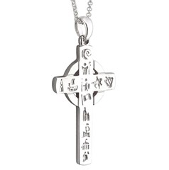 History Of Ireland Silver Celtic Cross Necklace