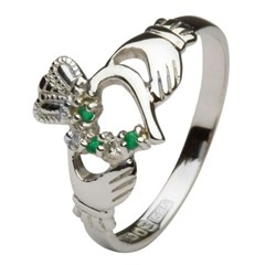 Claddagh Heart Set White Gold Ring