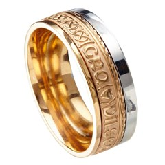 Love Loyalty Friendship Eternal Promise Yellow Gold / White Rail Band