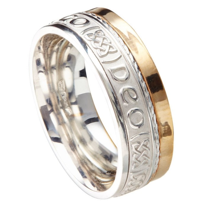 Love Forever Eternal Promise White Gold with Yellow Rail Band