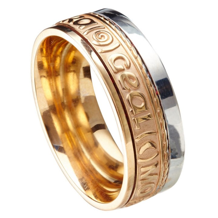Love Of My Heart Eternal Promise Yellow Gold with White Rail Band