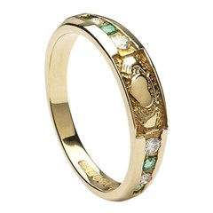 Claddagh Eternity Diamond & Emerald Set Yellow Gold Ring