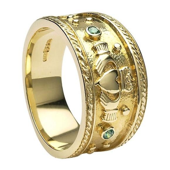 Claddagh Heavy Emerald Set Yellow Gold Ring Claddagh