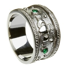 Claddagh Heavy Emerald Set White Gold Ring