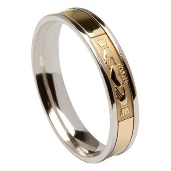 Claddagh Silver Band with Yellow Gold Center