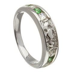 Claddagh Eternity Diamond & Emerald Set White Gold Ring