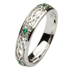 Celtic Emerald & Diamond Cluster Wedding Ring