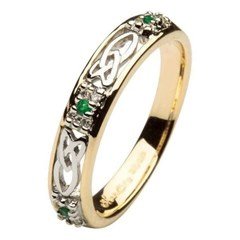 Celtic Emerald & Diamond Cluster Two Tone Wedding Ring